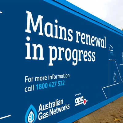 Branded hoarding for Australian Gas Network